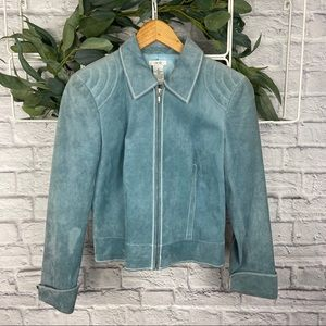 Cache Blue Suede Zipper Up Long Sleeve Jacket